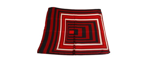 Dámska červeno-čierna hodvábna šatka Gianfranco Ferré s grafickým vzorom