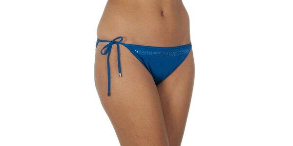Dámske modré plavkové nohavičky s flitrami Calvin Klein