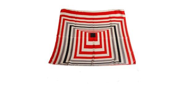 Dámska červeno-biela hodvábna šatka Gianfranco Ferré s grafickým vzorom