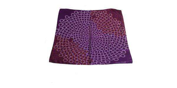 Dámska fialová hodvábna šatka Gianfranco Ferré s motívom kruhov