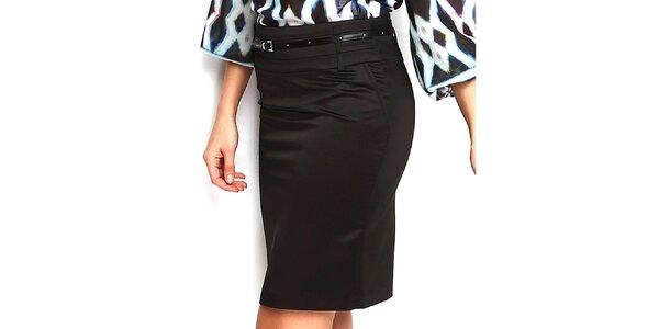 Dámska čierna púzdrová sukňa do pása Fusion