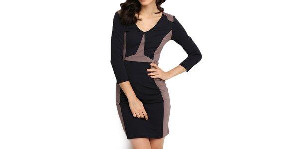 Dámske hnedo-čierne púzdrové šaty Fusion