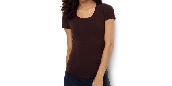 Dámske hnedé tričko s oválnym výstrihom Fusion