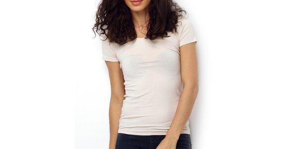 Dámske smotanovo biele tričko s oválnym výstrihom Fusion