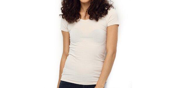 Dámske smotanovo biele tričko s krátkym rukávom Fusion