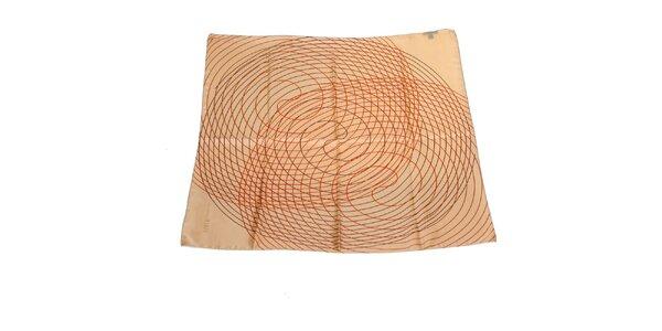 Dámska béžová hodvábna šatka Gianfranco Ferré so špirálami