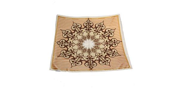 Dámska béžovo-hnedá hodvábna šatka Gianfranco Ferré s ornamentom
