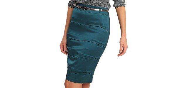 Dámska modrozelená púzdrová sukňa Fusion