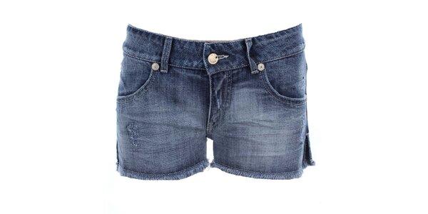 Dámske modré džínsové kraťasy s odreninkami MET