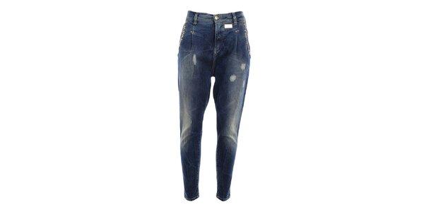 Dámske džínsy s šisovaním a odreninkami MET