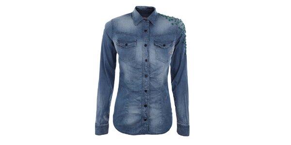 Dámska modrá košeľa so zelenými cvočkami MET