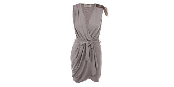 Dámske šedohnedé zavinovacie šaty MET