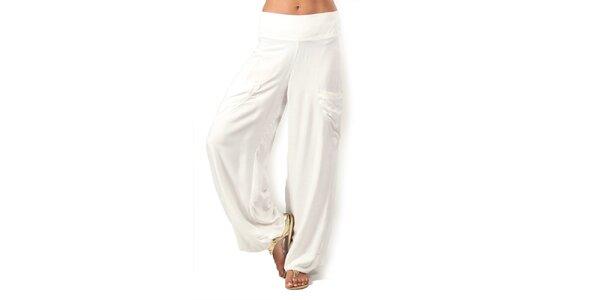 Dámske biele nohavice s vreckami Aller Simplement