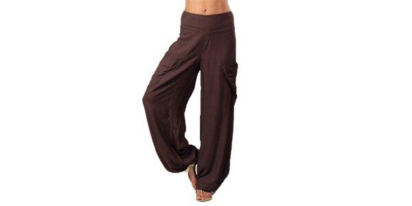 Dámske tmavo hnedé nohavice s vreckami Aller Simplement