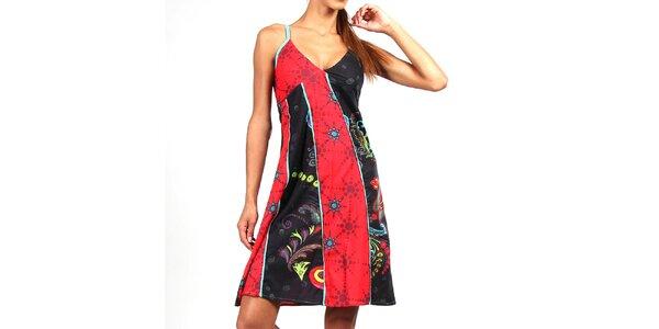 Dámske červeno-čierne šaty s tyrkysovými ramienkami Aller Simplement