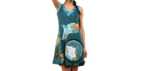 Dámske modrozelené šaty bez rukávov Aller Simplement