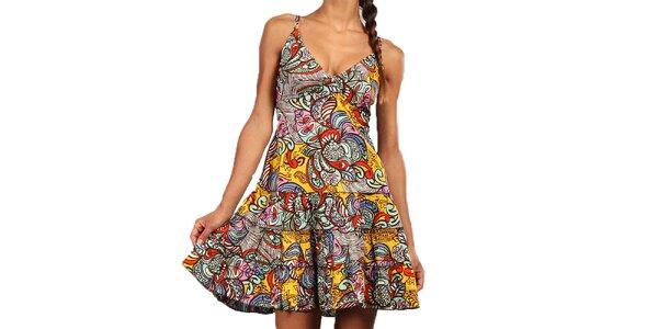 Dámske farebné šaty s volánovou sukňou Aller Simplement