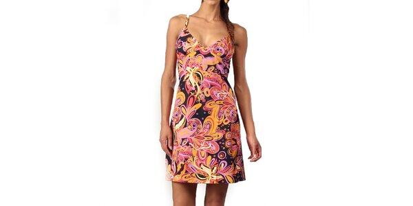 Dámske šaty s oranžovo-ružovou potlačou Aller Simplement