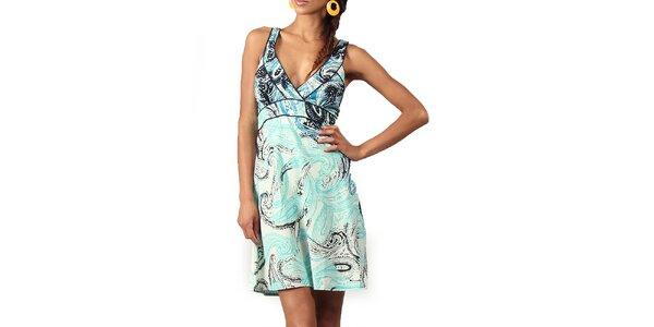 Dámske šaty s tyrkysovo-modrou potlačou Aller Simplement