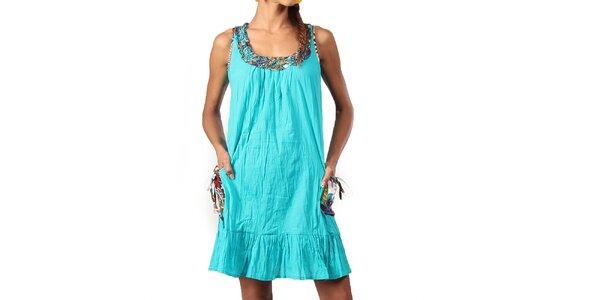 Dámske krátke tyrkysové šaty s ozdobným výstrihom Aller Simplement