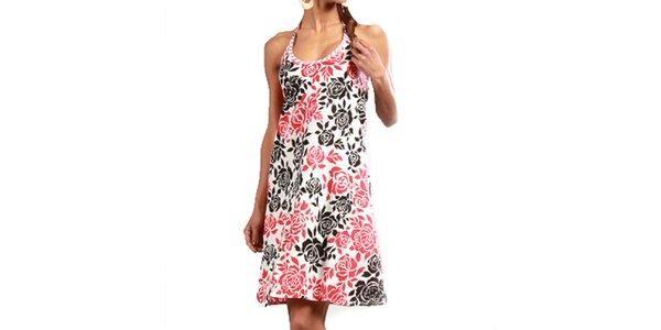 Dámske šaty s ružovými a čiernymi ružičkami Aller Simplement