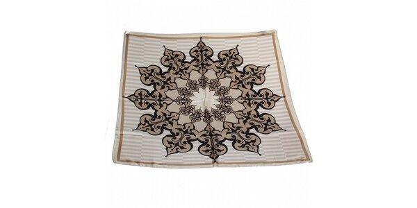 Dámska šedo-béžová hodvábna šatka Gianfranco Ferré s ornamentom