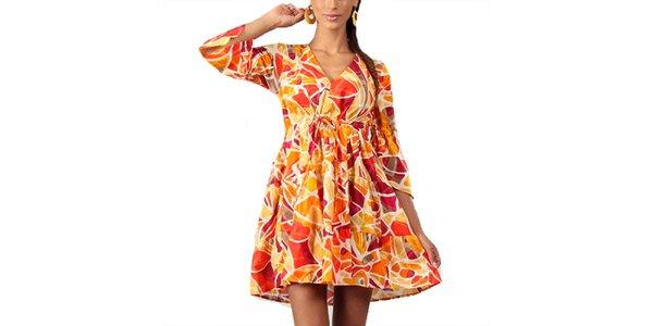 Dámske tunikové šaty s oranžovou potlačou Aller Simplement