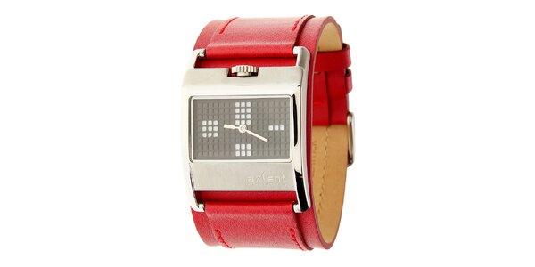 Dámske oceľové hodinky Axcent s červeným koženým remienkom