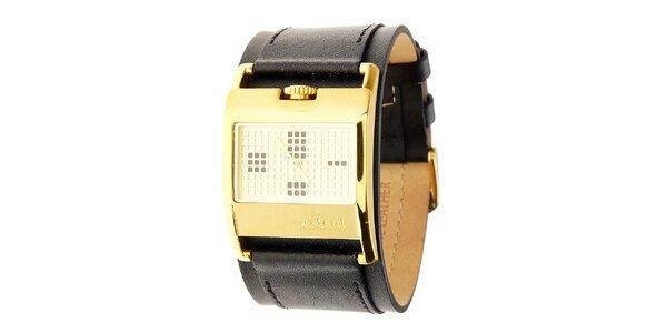 Dámske zlaté náramkové hodinky Axcent s čiernym koženým remienkom
