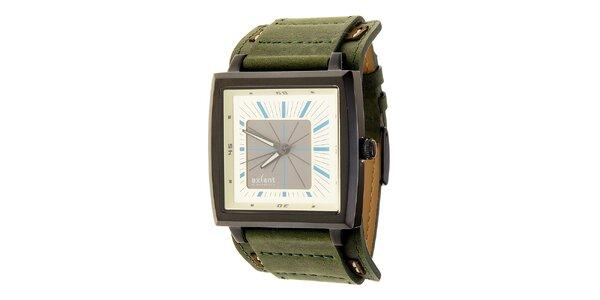 Pánske čierno-strieborné náramkové hodinky so zeleným koženým remienkom