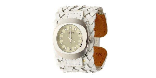 Dámske náramkové hodinky Axcent s bielym prepletaným koženým remienkom