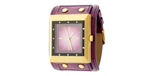 Dámske zlato-fialové náramkové hodinky Axcent s koženým remienkom