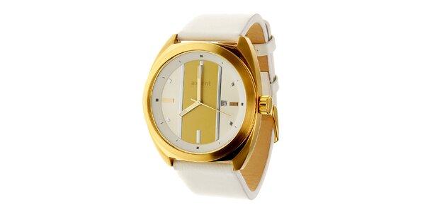 Dámske zlaté náramkové hodinky Axcent s bielym koženým remienkom