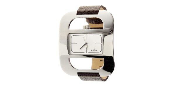 Dámske módne náramkové hodinky s čiernym koženým remienkom