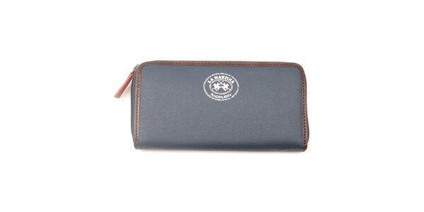Dámska antracitová peňaženka s hnedým lemom La Martina