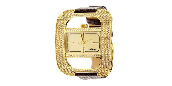 Dámske módne zlaté oceľové hodinky Axcent s čiernym koženým remienkom
