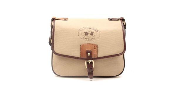Dámska béžová kabelka s hnedými lemami La Martina