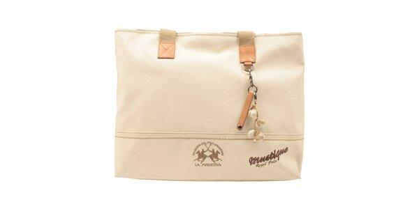 Dámska béžová kabelka s mušličkovou dekoráciou La Martina