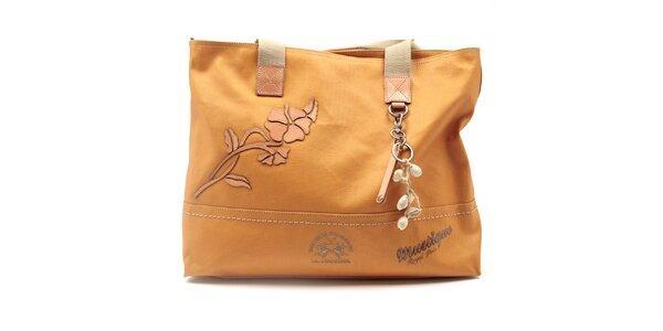 Dámska oranžová kabelka s mušličkovou dekoráciou La Martina