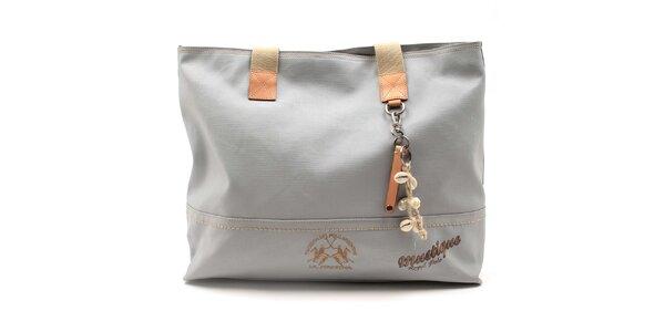 Dámska šedá kabelka s mušličkovou dekoráciou La Martina