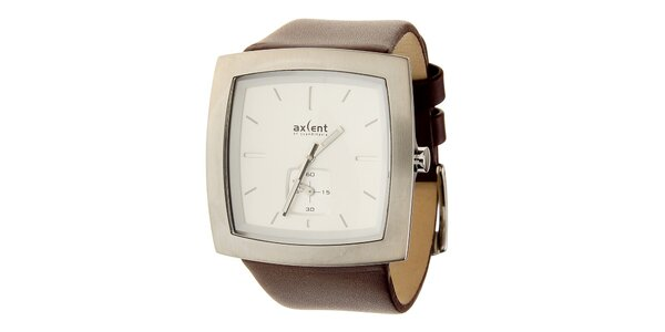 Pánske oceľové hodinky Axcent s hnědým koženým remienkom