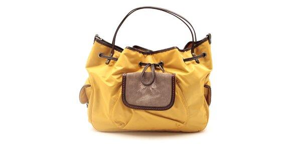 Dámska horčicová kabelka s hnedými prvkami La Martina