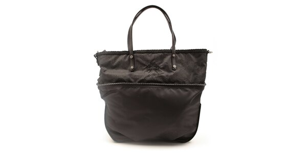 Dámska čierna kabelka s ozdobným lemom La Martina