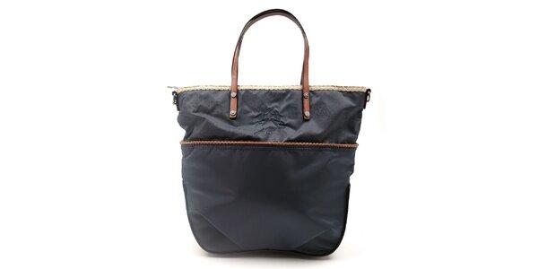 Dámska čierna kabelka s ozdobným lemom a hnedými ušami La Martina