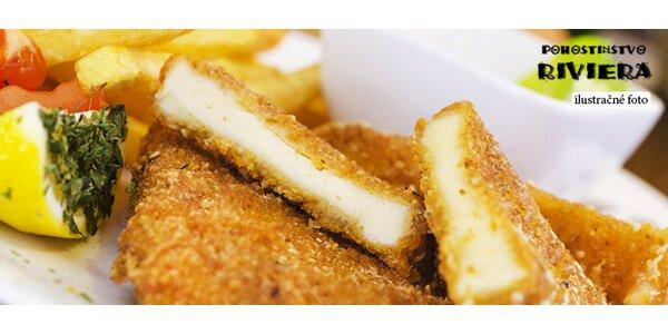 Vyprážaný syr s prílohou aj s donáškou