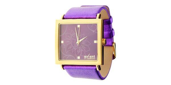 Dámske fialové náramkové hodinky Axcent s koženým remienkom