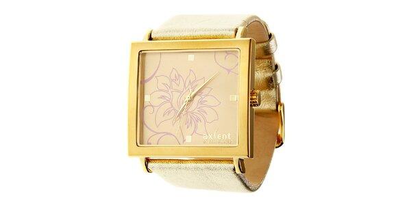 Dámske zlaté náramkové hodinky Axcent s koženým remienkom