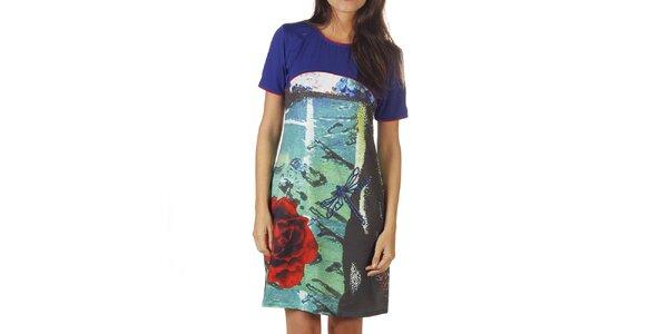 Dámske modré šaty s farebnou potlačou Ada Gatti