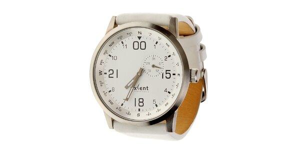 Dámske oceľové hodinky Axcent s bielym koženým remienkom