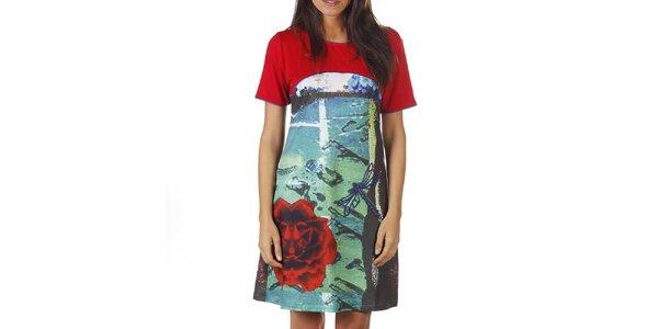 Dámske červené šaty s farebnou potlačou Ada Gatti
